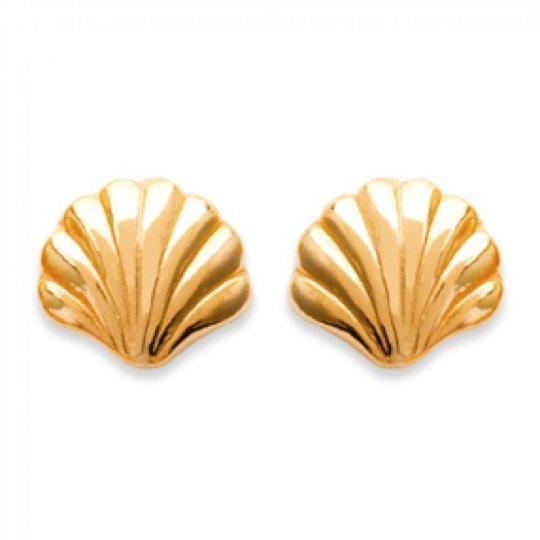 Boucles d'oreilles puces Coquillage Plaqué Or - Femme