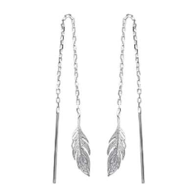 Earrings Feathers Traversantes Argent Rhodié - Women