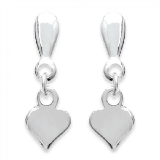 Boucles d'Oreilles Coeur Pendant Argent - Femme