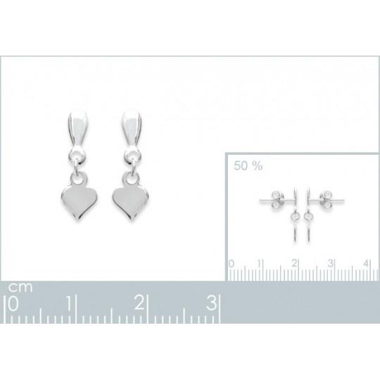 Earrings Heart   Argent -...