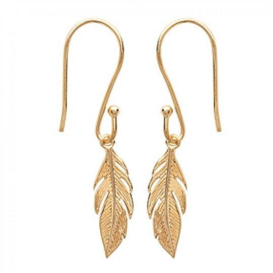 Earrings Feathers Gold plated 18k - Crochets Women