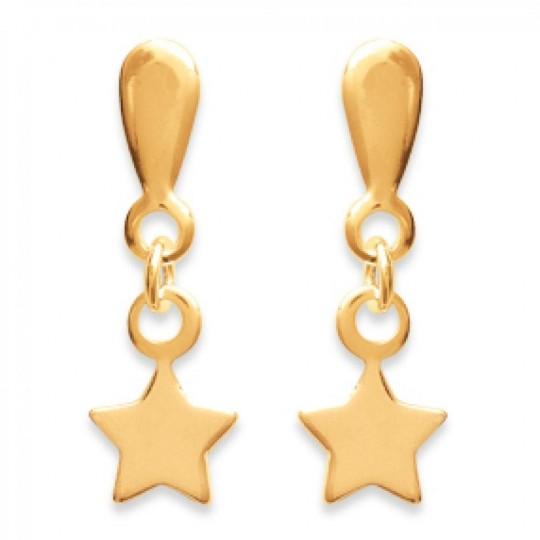 Boucles d'Oreilles Étoiles Pendantes Plaqué Or - Femme