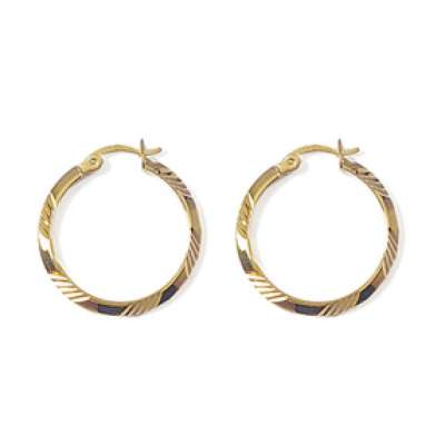 Hoop Earrings Martelées Gold plated 18k 25mm - Fermoir à...