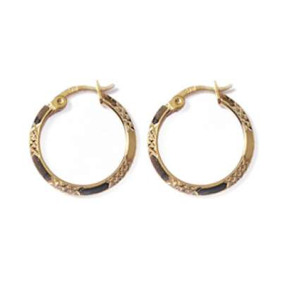 Hoop Earrings Martelées Gold plated 18k 20mm - fermoir clips