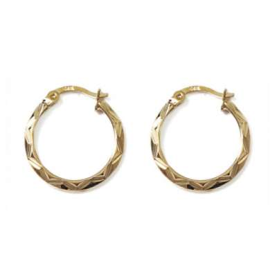 Hoop Earrings Martelées Gold plated 18k 20mm - Fermoir à...