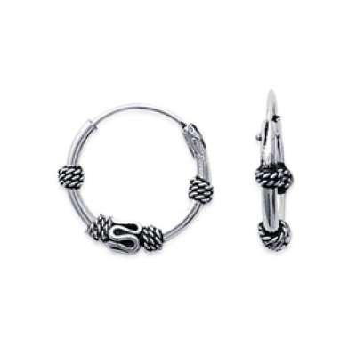 Hoop Earrings Tribales of Bali Argent 14mm - for Men ou...
