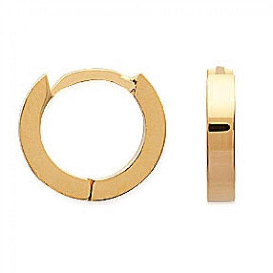 Petites Hoop Earrings fil carré Gold plated 18k 12mm -...