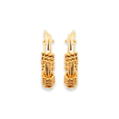 Hoop Earrings of Bali Tribales Gold plated 18k 12mm - Women