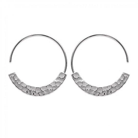 Hoop Earrings Ouvertes Martelées Argent Rhodié 30mm - Women