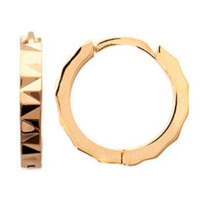 Hoop Earrings Martelées Gold plated 18k 16mm - Fil carré...