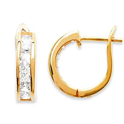 Hoop Earrings Strass Gold plated 18k - Zirconium -...