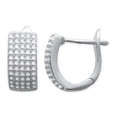 Hoop Earrings Strass Argent Rhodié 12mm - Cubic Zirconia...