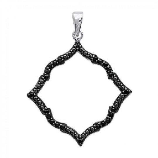 Pendentif Losange Noir Strass Argent Rhodié - Zirconium -...