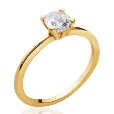 Ring Solitaire fine Gold plated 18k 4mm - Zirconium - Women