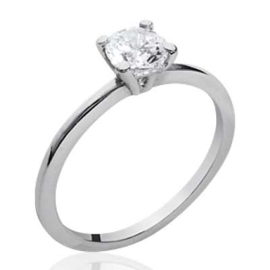 Ring fine Solitaire Argent - Zirconium 6mm - Ring de...