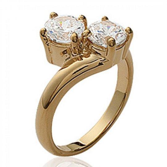 Ring de fiançailles toi et moi Gold plated 18k -...