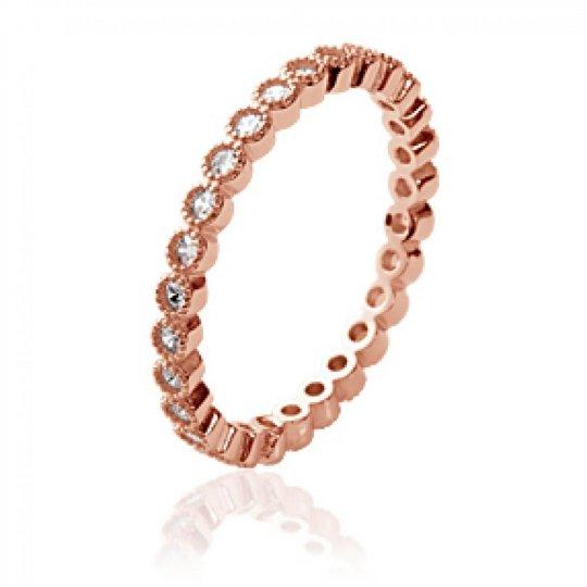 Ring d'éternité Gold plated 18k Rose - Cubic Zirconia...