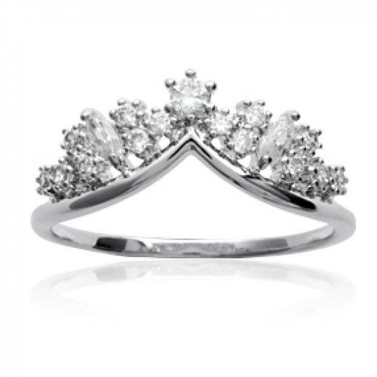 Ringe couronne Argent Rhodié - Zirconium - Ringe de pouce...