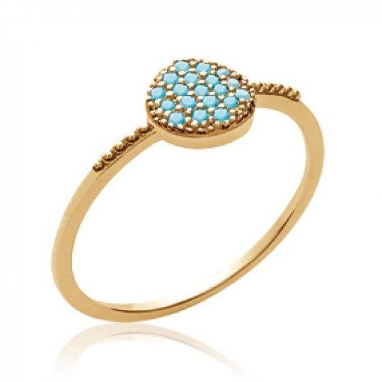 Ring Bleu turquoise fine Gold plated 18k - Women