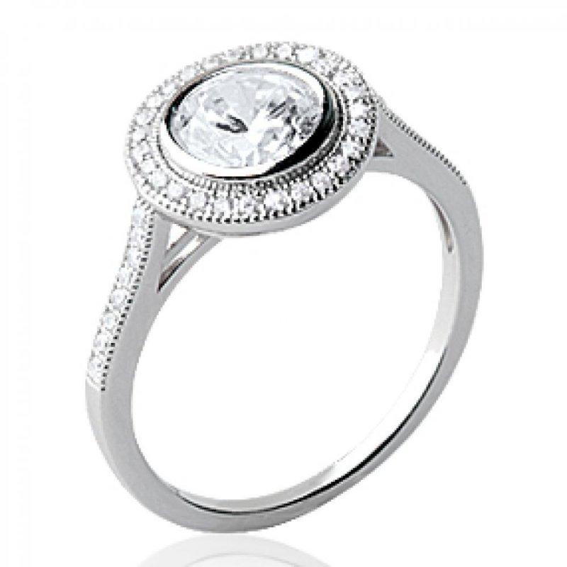 Ring Solitaire Argent Rhodié - Zirconium 6mm - Ring de fiançailles