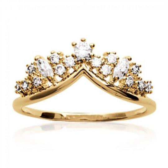 Bague couronne de princesse fiançailles Plaqué Or -...