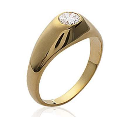 Ring Solitaire pour for Men Women Gold plated 18k -...