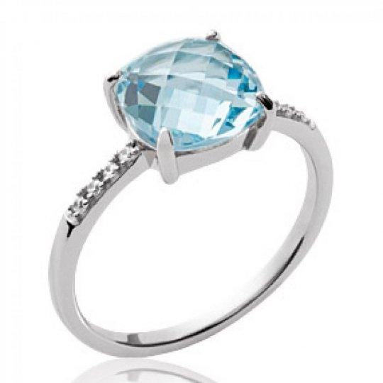 Bague pierre bleue Argent Rhodié - Bague de fiançailles