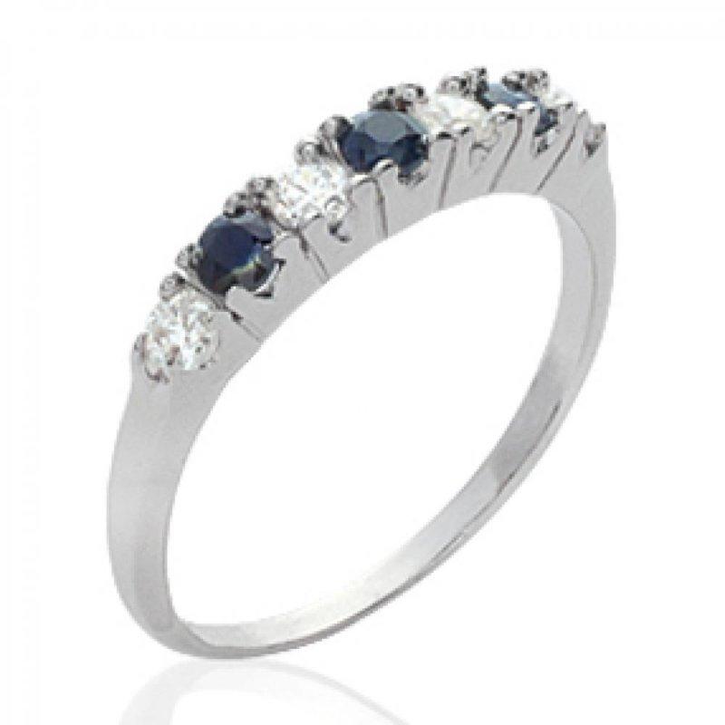 Ring jarretière Onyx Argent Rhodié Precious Gemstone Black - Women