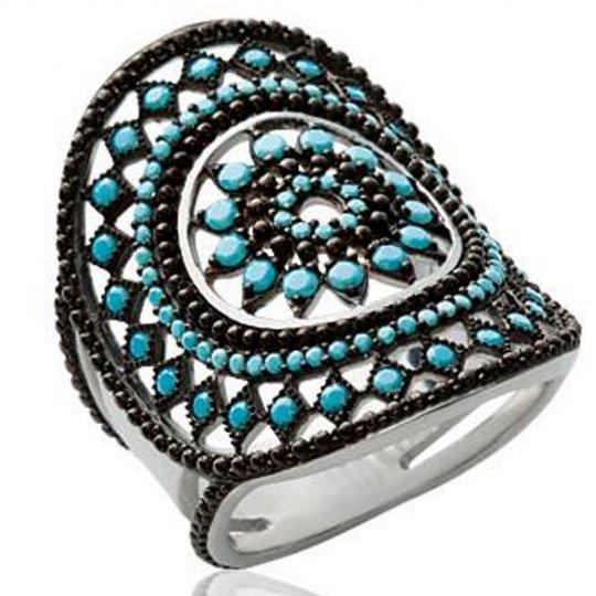 Ring bohème Black et Bleue turquoise Argent - & Ring d'index