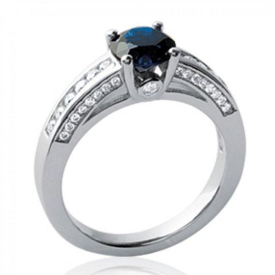 Ring Pierre Black 6mm Argent Rhodié - Zirconium Microsertis