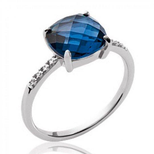 Bague grosse pierre bleue Argent Rhodié - Bague de...