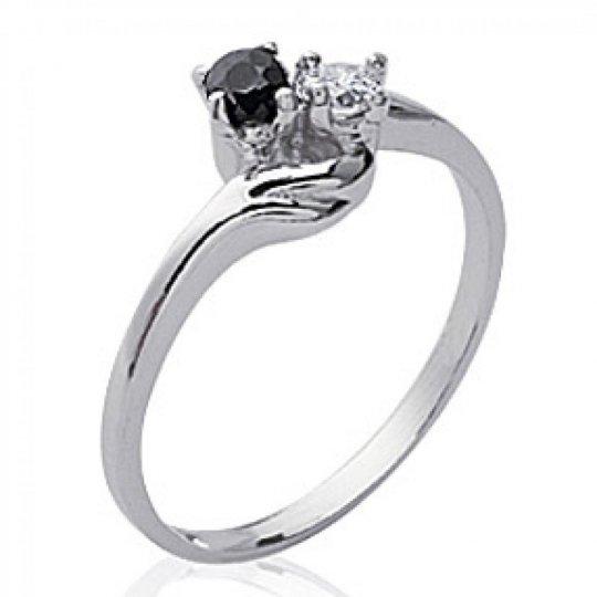 Ring de fiançailles Onyx Toi et moi Argent Rhodié -...