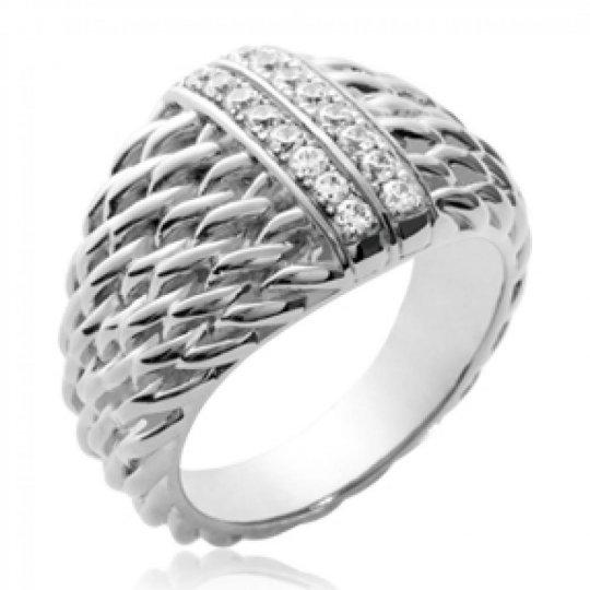 Ring dôme corde Argent Rhodié - Zirconium - Women