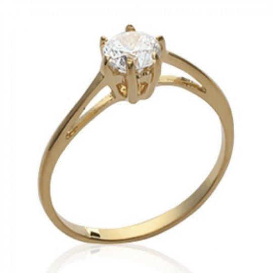 Ring de fiançailles fine Solitaire Gold plated 18k -...