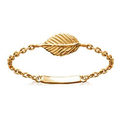 Ring Chain Feuille Gold plated 18k - Women
