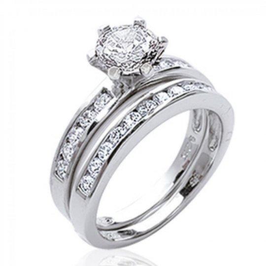 Bague Solitaire 2 anneaux séparés Argent - Zirconium -...