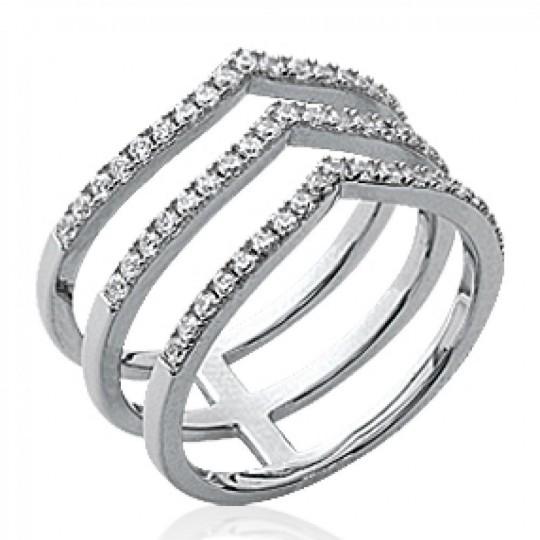 Bague multi anneaux en V Argent Rhodié - Zirconium...