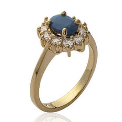 Ring Marguerite Onyx Precious Gemstone Black Gold plated...