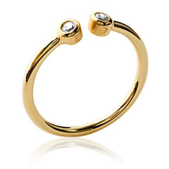 Ring ouverte avec 2 petites pierre Gold plated 18k -...