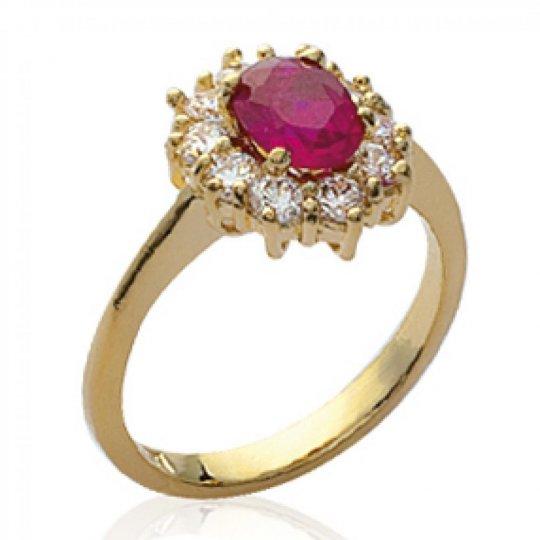 Bague marguerite pierre rose Plaqué Or Bague de...