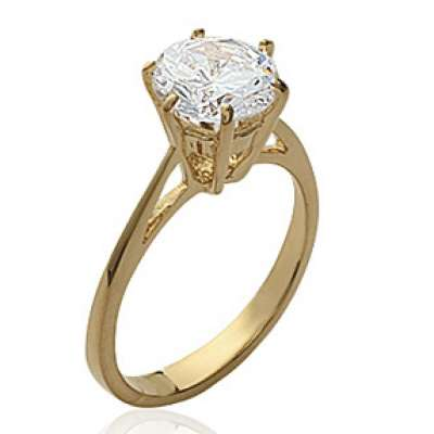 Ring gros Solitaire Gold plated 18k - Zirconium 8mm -...