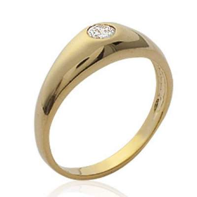 Ring dôme Solitaire zirconium Gold plated 18k pour for...