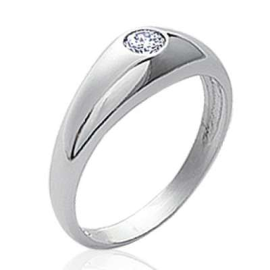 Ring dôme Solitaire Argent Rhodié - Zirconium - Grande Size
