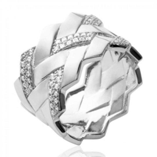 Ring tube tressée Argent Rhodié - Zirconium - Women