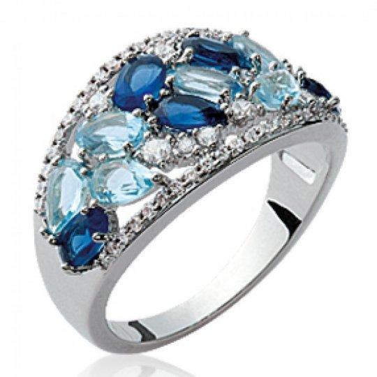 Bague pierres bleues multi-tons Argent Rhodié - Femme