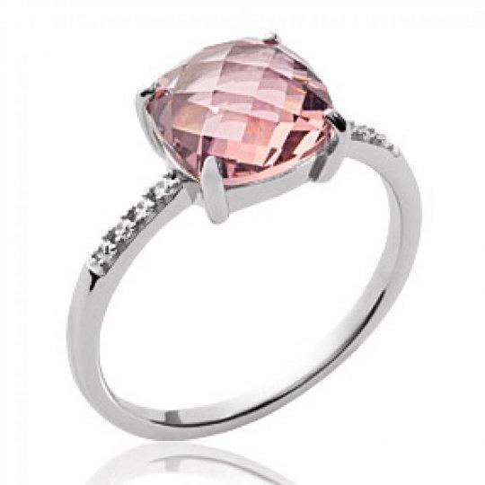 Bague pierre rose cristal translucide Argent Rhodié - Femme