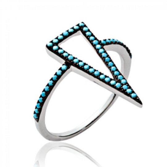 Bague grand triangle noir et strass bleu turquoise Argent...