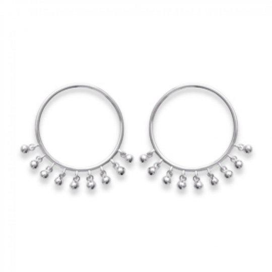 Boucles d'Oreilles anneau breloques boules bohème Argent...