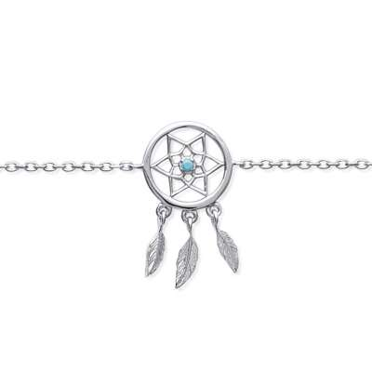 Bracelet Attrape rêve pierre bleue Argent Rhodié - 16cm 18cm