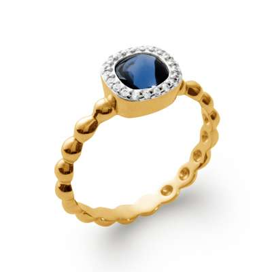 Bague de fiançailles art déco pierre bleue Plaqué Or - Femme